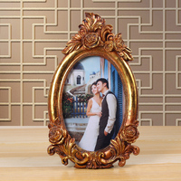 family naturalism decorative oval picture frame flexible irregular handicrafts photo frame display stand 0.3kg 4 x 6 inch Golden