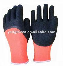10 gauge orange acrylic liner 3/4 crinkle latex dipped winter working gloves