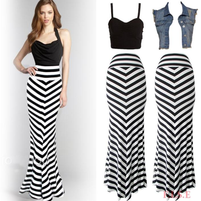 Black And White Striped Long Skirt - Dress Ala