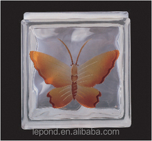 Clear Glass Bricks /butterfly inside glass brick for decoration