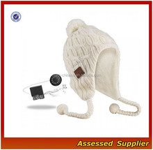 XJ01145/Bluetooth knit earflap with top ball /custom bluetooth earflap with top ball
