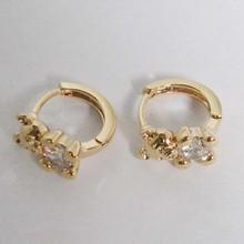 18k Gold Plated Clear CZ Basket Stud Earrings Round Screw Back Stud Earrings