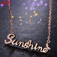 RDW Necklace Gold Custom Name Jewelry Long Shape Sunshine Necklace With Rhinestone