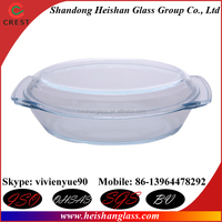 Oval 1.5L transparent high quality china cheap glass cookware