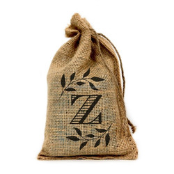 """Z Monogram, 6"""" X 10"""" linen pouch drawstring with logo with Drawstring - Set of 10"""