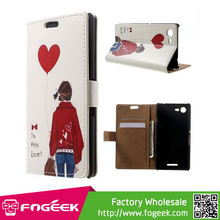 Paypal Accepted PU Leather Case w/ Card Slots for Sony Xperia E3 D2203 D2206 / E3 Dual D2212 - Girl Holding Bag & Heart