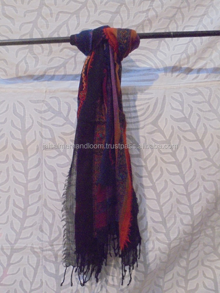 designer boiled wool shawl stole scarf embroidery
