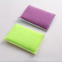 household cleaning products 2 iN 1 microfiber sponge colorful sponge scouring pads