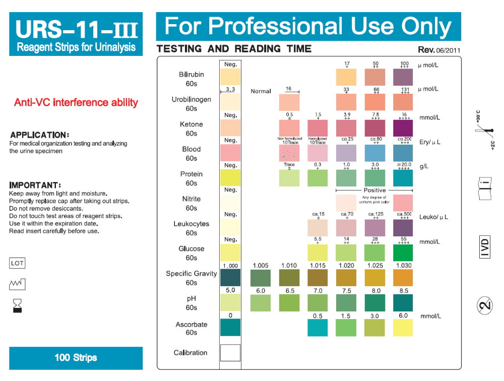 Urine Test Strip Urs 11 Parameter Ph Test Urinalysis Test Strip Fda