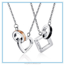 MECY LIFE 2015 new style stainless steel heart and square shaped long chain necklaces jewelry