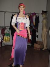 Para mujer misterioso adivino circo gitano del vestido de lujo del traje de Halloween