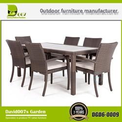 Sale cast aluminum outdoor rattan furniture 6 seater dining table set