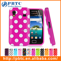 Set Screen Protector And Case For Samsung Galaxy Ace S5830 , Polka Dots Cell Phone Soft Gel Case Cover