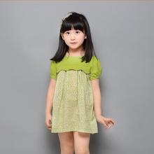 HJL-K1006 Wholesale children cllthes 2015 summer Korean floral stitching girls short sleeve dress