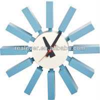 12 inch blue color George Nelson wooden block wall clock