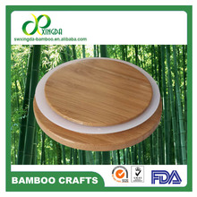 SGS,FDA,LFGB Bamboo lids for glass jars &candle jar with rubber seal