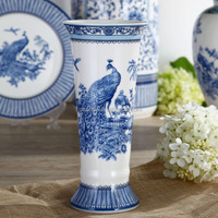 Elegant New Bone China Chinese Tall Blue and White Vase