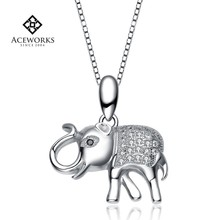 Wholesale Lovely Little Elephant 925 Sterling Silver Pendant with Zircon