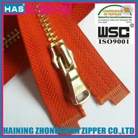 HAS zipper #5 metal zipper fancy metal puller open end shiny gold zipper