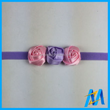 Hot Sale Small Rose Flower Colorful Baby Elastic Headbands