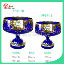 glass bowl with gold painting flowers/deep blue glass fruit bowl with the Middle East style
