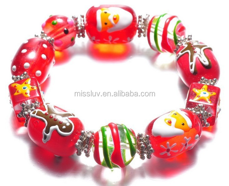 Wholesale glass bead bracelet with christmas father