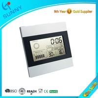 Sunny Cheap Weather LCD Display Desk Manual Digital Alarm Clock