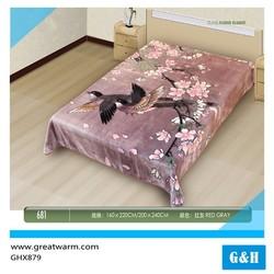 Jacquard islamic bird and flower design wall fabirc mink blanket