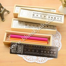 hollow wooden pencil case/box with ruler (BLY16-0010WD)