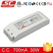 Triac dimmable 30w 27-45v 700ma constant current led driver 30w constant current with TUV CE ROHS
