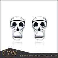 CYW 2015 online shop rhodium plated skull silver 925 earrings wholesale