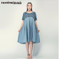 2014 Summer latest design long casual linen dress plus size tie dye print korean casual dress