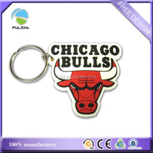 custom NBA basketball chicago bulls logo PVC rubber keychain