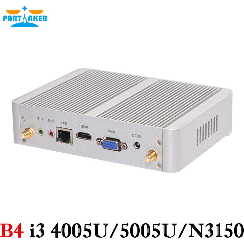 Partaker más barato B4 i3 Broadwell Mini PC Windows 10 Barebone ordenador i3 4005U 4K HTPC wifi HDMI VGA