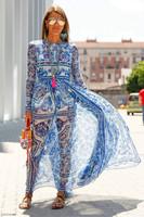 Wholesale New Fashion 2016 Spring Clothing Dress Women Vintage Porcelain Print Long Sleeve Floor Length Casual Beach Long Dress
