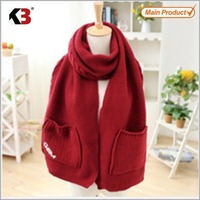 2016 Double layer 3D crotched knitted red pocket wrap scarf distributor