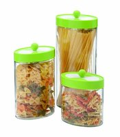 SINOGLASS 3 pcs green color lid rotatable blade cover glass canister