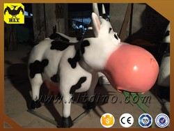 Fiberglass garden decoration cartoon cow statue