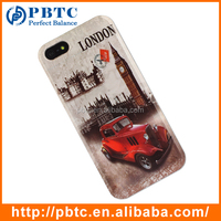 Set Screen Protector And Case For Iphone 5 , Hard Plastic Retro Style Vintage Car Bulk Cell Phone Case