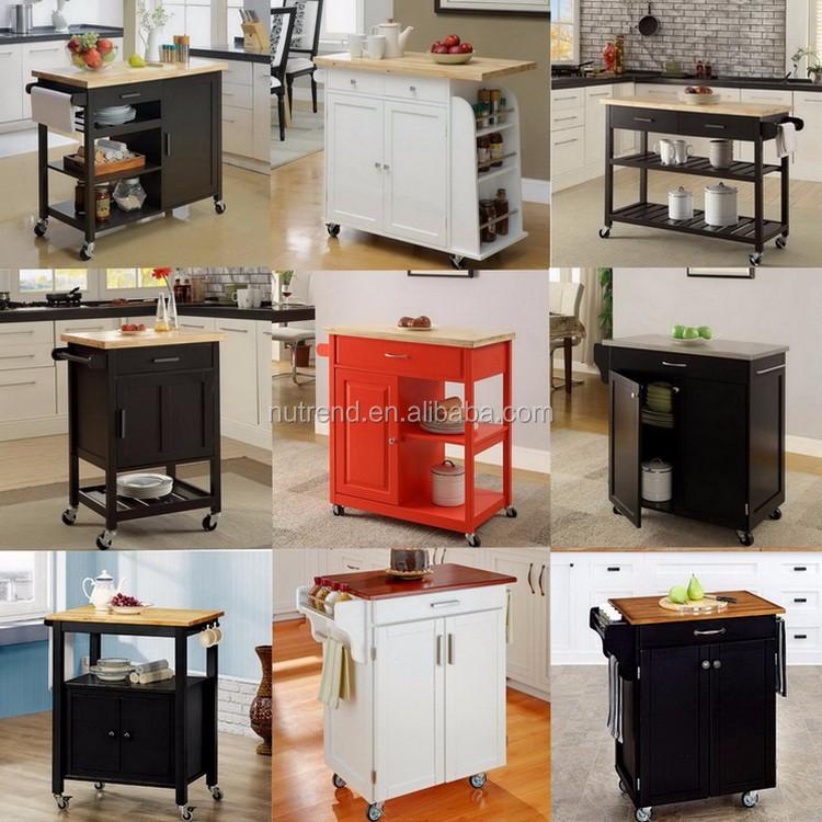 Bois moderne cuisine chariot avec vaisselle et conception - Chariot de cuisine en bois ...