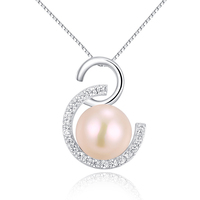 SJG40 Fashion Jewelry Elegant Charming Style Double C Shape Zirconia Silver Fresh Water Pearl Necklace