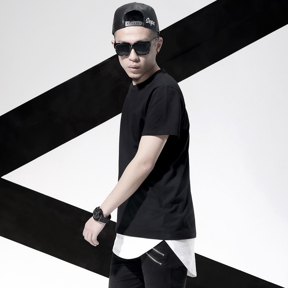 Hip hop fashion men elongated tee blank plain round bottom for Hip hop t shirts big and tall