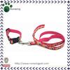 Pink Nylon Printing Dog Leash & Collar