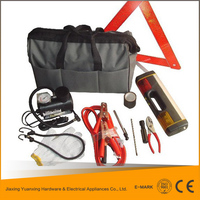 wholesale china road safety/car/auto emergency kit/roadside tool set with booster