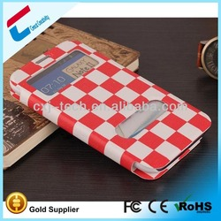 2014 new products in market Leather Case with View Window Flip Cover for Samsung Galaxy Note2 N7100 Business Style Luxury Cover