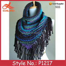 P1217 2015 fashionable winter women hand knitted mixed color infinity shawls