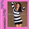 ML17825 New Sexy Negro rayado blanco de una sola pieza Vestidos de manga larga de Otoño Invierno de la señora