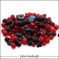 pressed glass beads mix wholesale for black and red color