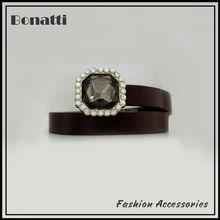 latest design brown embellished belt with crystal buckle