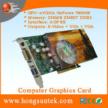 NVIDIA GeForce P492 7800GS AGP 256MB 256BIT DDR3 S-Video VGA DVI Graphic Card